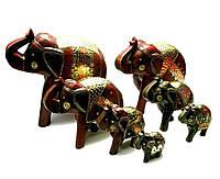 Слоны деревянные с медными вставками (н-р 7 шт) (h-30;25;20;16;14;11;9см)
