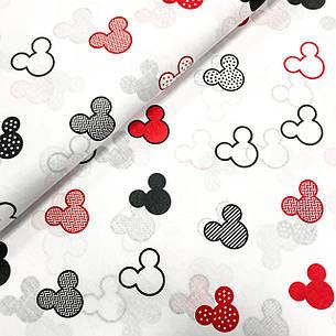 """Польская хлопковая ткань """"Микки красные, черные с горохом, зигзагам, полоской  на белом"""", фото 2"""
