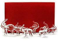 Слоны хрустальные набор 7шт 26х16х6см (18861)