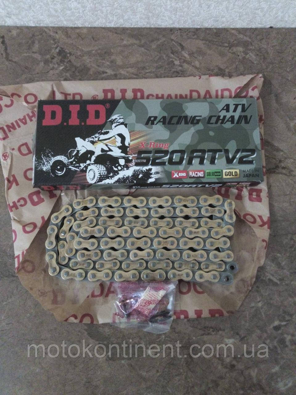 Ланцюг для квадроцикла DID 520ATV 84 G&B чорно - золота сальники типу X-Ring