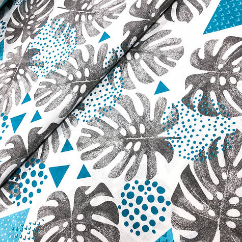 """Польська бавовняна тканина """"Блакитні листя монстери з геометричними візерунками"""""""