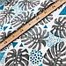 """Польская хлопковая ткань """"Голубые листья монстеры с геометрическими узорами"""", фото 3"""