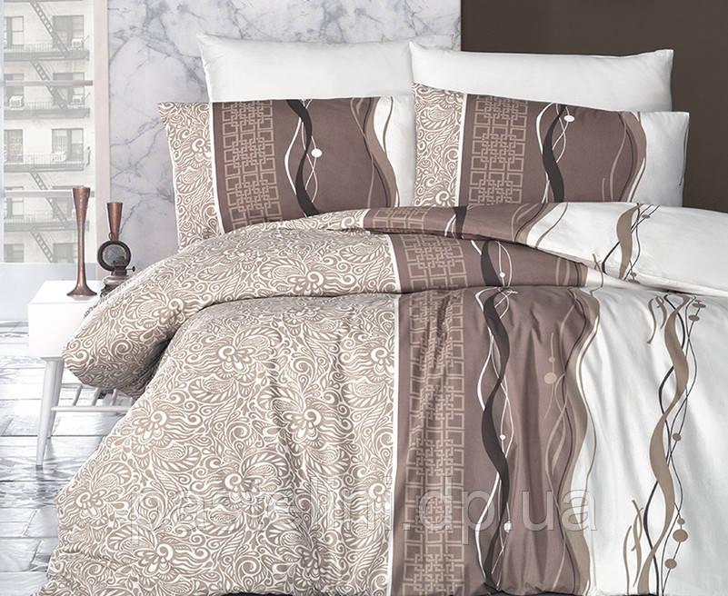 """Комплект постельного белья """"first choice"""" de luxe ранфорс цветной neron kahve"""