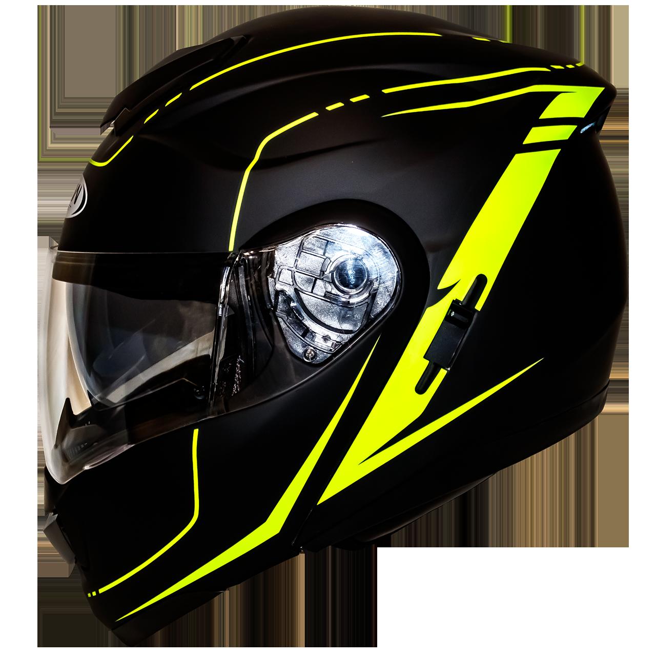Мотошлем HF-119 matte black-yellow шлем трансформер, Flip-Up с солнцезащитными очками, матовый чёрный с жёлтым