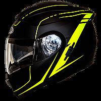 Мотошлем HF-119 matte black-yellow шлем трансформер, Flip-Up с солнцезащитными очками, матовый чёрный с жёлтым, фото 1
