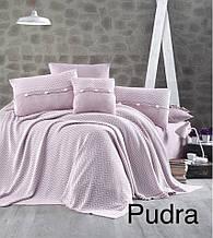 Комплект постільної білизни First choice 200 x 220 +в'язане покривало nirvana excellent pudra (324)