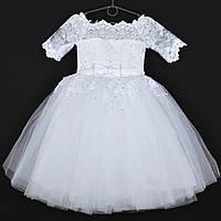 """Сукня святкова дитяче """"Діана"""" з рукавчиків. 5 років. Біле. Оптом і в роздріб"""