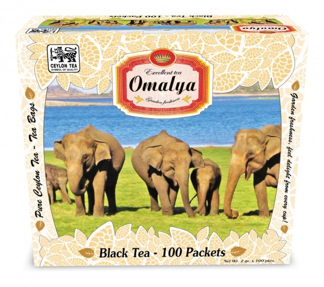 """Чай в пакетиках черный Омалия """"Слоны"""" 100п."""