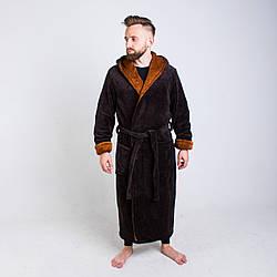 Махровый халат для мужчин коричневого цвета размер L- 6XL