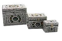 Сундуки металлические с камнями набор 3шт 20х17х16см (18239)