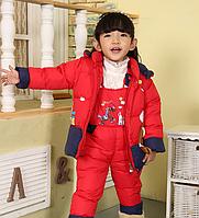 Детский зимний комбинезон с курткой для девочки на натуральном пуху