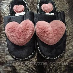 Тапки жіночі з рожевими пухнастими сердечками. Розмір: 36-37. 40-41
