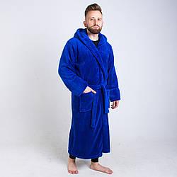 Чоловічий махровий халат кольору електрик на запах розмір L - 6XL 3XL