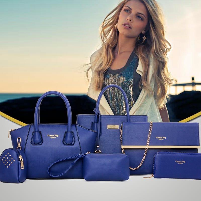 Женская сумка 6в1, экокожа PU (синий)