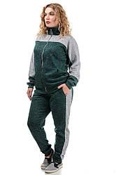 Женский утепленный спортивный костюм, большого размера, ангора-софт с начесом, р. 50,52,54,56,58 зелен с серым