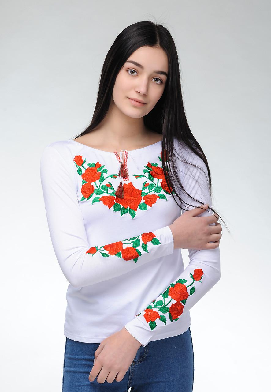 Модная белая женская футболка с длинным рукавом с вышивкой цветами «Роза»