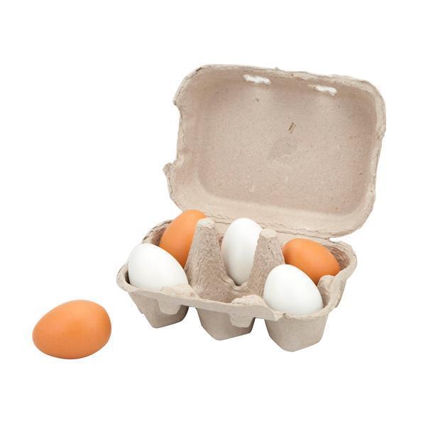Игрушечные продукты Viga Toys Деревянные яйца в лотке, 6 шт. (59228)