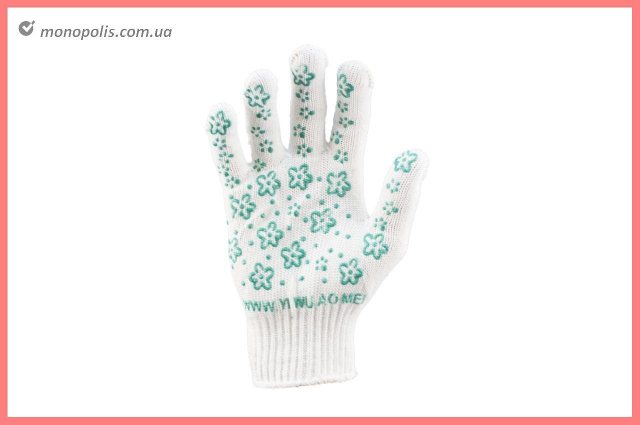 """Рукавички PRC - квітка зелений 9"""""""