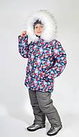 Зимова куртка дитяча для дівчинки сніжинка на сірому, р - 116, 122, 128.