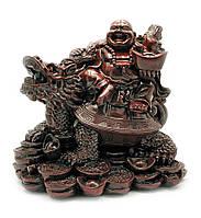Хотей на черепахе драконе каменная крошка коричневый 25х25х19см (22054)