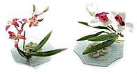 Цветок орхидеи на стеклянной подставке d-18,5см (18792)