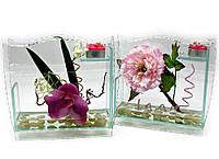 Цветок в стекле со свечей 20х22х6,5см (18783)
