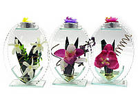Цветок в стекле со свечей 17х12,5х5см (18785)