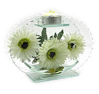 Цветок в стекле со свечей 17х12,5х5см (18797)