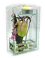 Цветок в стекле со свечей 16,5х10,5х5см (18777)