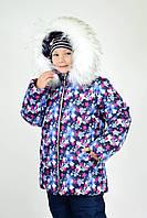 Зимова куртка дитяча для дівчинки сніжинка на синьому, р - 116, 122, 128.