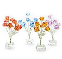 Цветы розы 9шт хрусталь7х7х15см (18862)