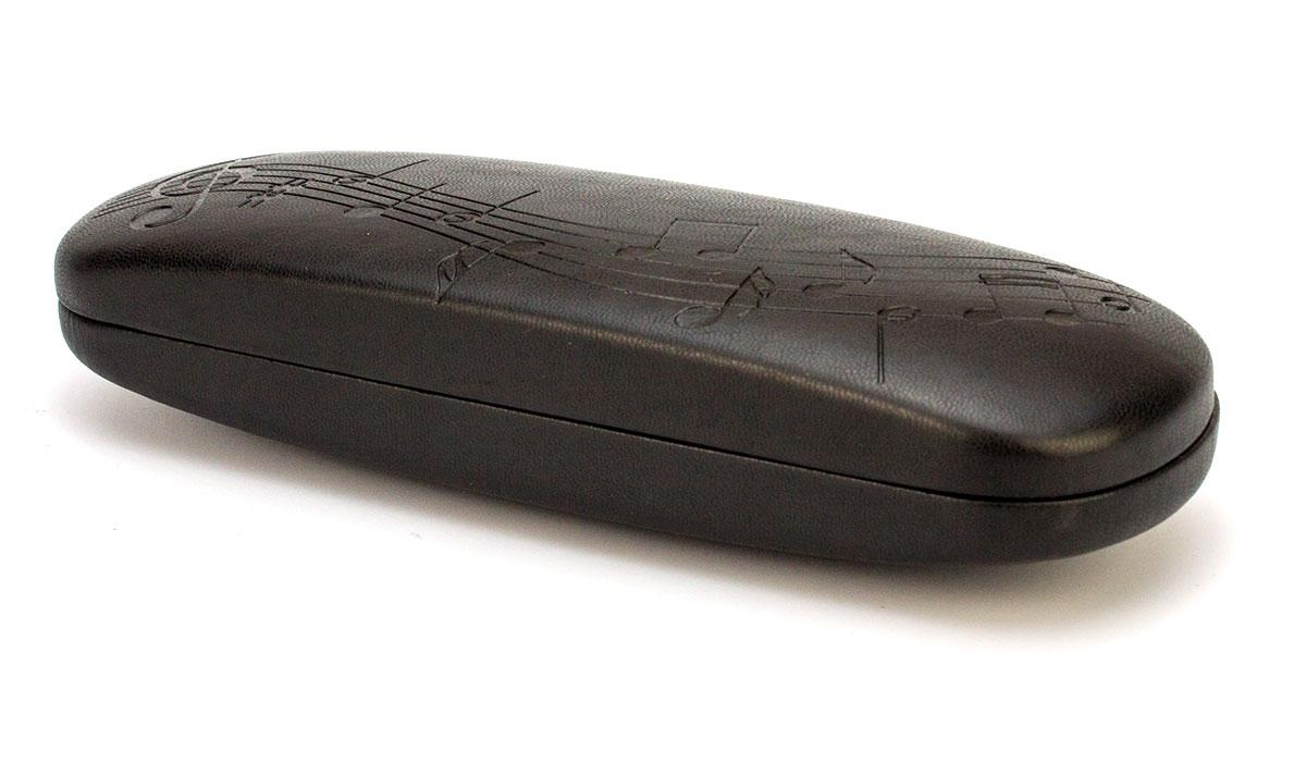 Футляр відмінної якості для диоптрийных очок, чорний з малюнком у вигляді нот, гламурний, але строгий, унісекс