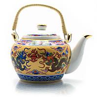 """Чайник фарфор с бамбуковой ручкой 750мл """"Драконы"""" (23133)"""