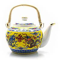 """Чайник фарфор с бамбуковой ручкой 750мл """"Драконы"""" (23134)"""