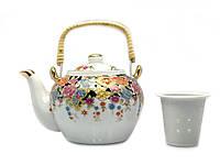 """Чайник фарфор с бамбуковой ручкой 750мл """"Цветы"""" (23135)"""