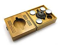 Чайный набор в бамбуковом футляре 19х19х10,5см (28104)