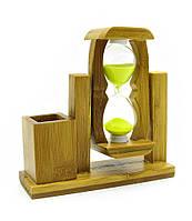 Часы песочные сувенирные с подставкой для ручек 12,5х12,5х4см (18860)