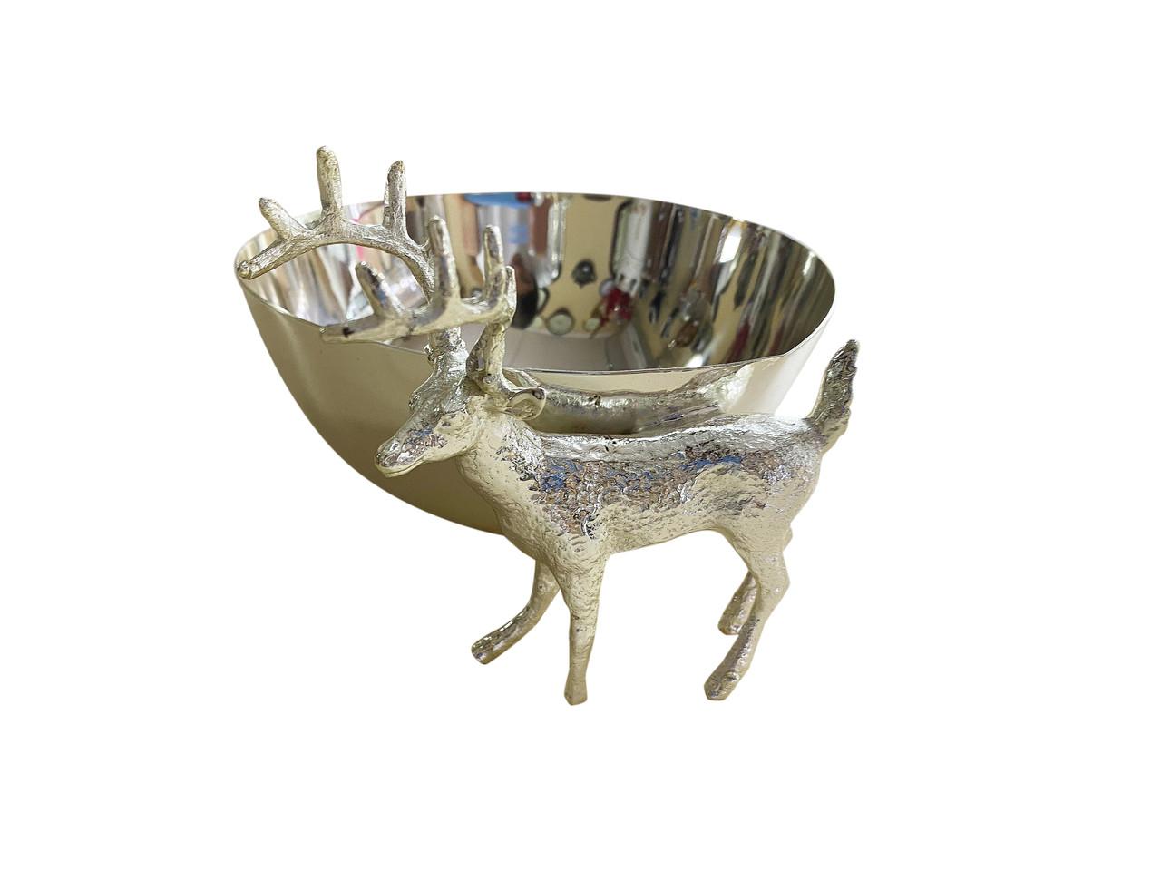 Декоративная конфетница MCA Vizyon из мельхиора с посеребрением и оленем - подарок на Рождество