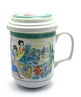 """Чашка заварочная с ситом 330мл """"Гейши"""" h-13cм, Ø 7,5см (27353)"""