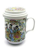 """Чашка заварочная с ситом 330мл """"Девушки""""h-13cм, Ø 7,5см (27334)"""