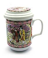 """Чашка заварочная с ситом 330мл """"Девушки"""" h-13cм, Ø 7,5см (27349)"""