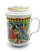 """Чашка заварочная с ситом 330мл """"Девушки""""h-13cм, Ø 7,5см (27335)"""