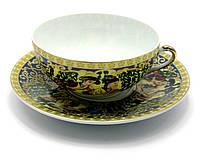 "Чашка+блюдце фарфор 150мл ""Зеленая ива"" h-4,5см, Ø 9,5см Ø блюдца-13см (24422)"