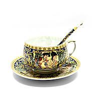 """Чашка+ложка фарфор 210мл """"Зеленая ива"""" h-6см, Ø чашки - 8см, Ø блюдца - 14см (25677)"""