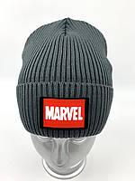 ОПТ, Вязаная шапка колпак для мальчика на флисе «Marvel»,  без завязок, фото 1