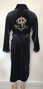 Мужской махровый халат с вышивками под пояс 46-56 р