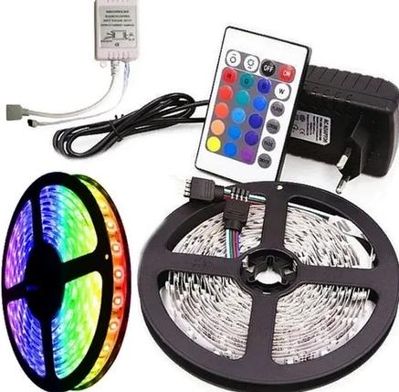 Світлодіодна стрічка 3528 RGB 300 LED комплект 5м з пультом і блоком живлення, фото 2
