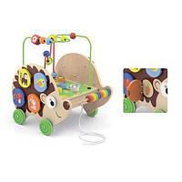 Деревянная каталка Viga Toys Ежик с бизибордом (50012), фото 1