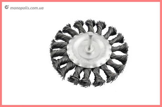 Щетка дисковая на дрель Intertool - 75 мм, плетеная, стержень 6 мм, фото 2