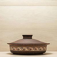 Сковорода из красной глины с крышкой 2 л резка, ангоб, фото 1